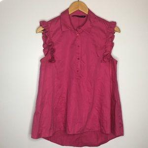 Zara Womens pink ruffle sleeve baby doll top